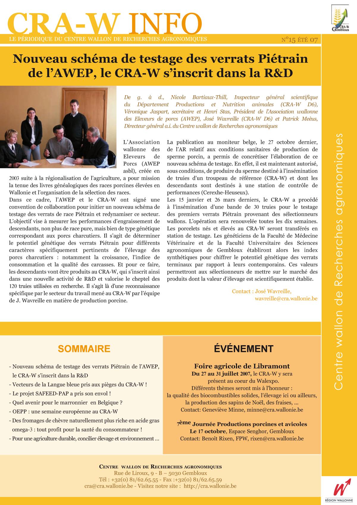 CRAW info n° 15